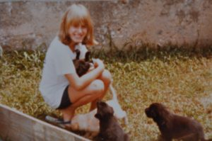 childhood photo of me with puppies